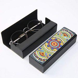 Matefield Étui à lunettes rigide en cuir à motif mandala avec fermoir magnétique pour femmes, hommes et enfants – – Small