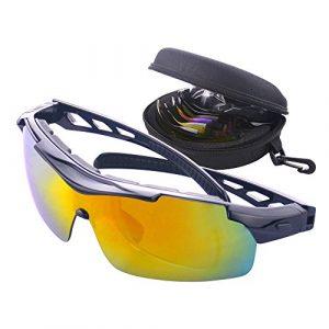 MATT SAGA Lunettes de Cyclisme VTT avec 5 Lentilles Interchangeables Lunettes de Vélo Soleil Polarisées Sports pour Hommes Femmes Cyclisme Moto Ski Pêche Golf Baseball Course (Noir)