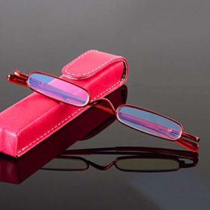 MLSJM Mini Folding Pen Holder Lunettes de Lecture pour Les Femmes Hommes, lecteurs Anti Bluelight Lunettes HD, Super Light/réduire la Fatigue visuelle, de Vacances,Rouge,+1.50D