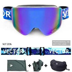 MUZIWENJU Gafas de esquí de Marca de Vector Hombres Mujeres Doble UV400 Anti-Lente Niebla esquí Gafas de Nieve Para adultos esquí Snowboard Gafas (Couleur : Blue White)