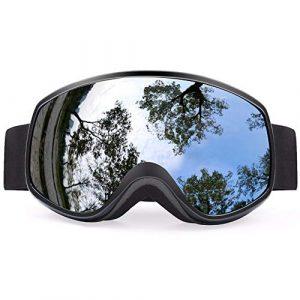 MUZIWENJU Gafas de esquí Lentes coloridas Invierno Nieve Deportes Snowboard Gafas Anti-Niebla protección UV niños esquí máscara esquí Gafas de esquí D30 (Couleur : Black with Box)