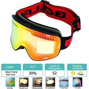 MUZIWENJU Lente Polarizada de Doble capa magnética Gafas de esquí Anti-Niebla UV400 Snowboard Gafas Hombres Mujeres Gafas de esquí Gafas (Couleur : Black Red)