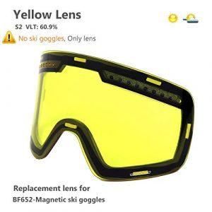 MUZIWENJU Lente Polarizada de Doble capa magnética Gafas de esquí Anti-Niebla UV400 Snowboard Gafas Hombres Mujeres Gafas de esquí Gafas (Couleur : Yellow Graced Lens)