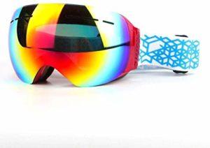 MWKLW Lunettes de Sports de Plein air, Lunettes de Ski sans Bordure Double Couche Anti-buée Grandes Fournitures de Ski en Plein air sphériques