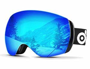 Odoland Lunettes de Ski Masque de Snowboard Frameless Hommes et Femmes-Anti-UV402, Anti-Buée, Coupe-Vent, Lunettes de Protection avec Grande Lentille OTG Sphérique