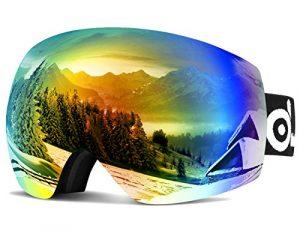 ODOLAND Lunettes de ski sphériques Frameless pour hommes et femmes, lunettes de soleil à double lentille S2 OTG pour le ski, snowboaring, motoneige, protection UV400 et anti-brouillard (18.5*11.5*7cm Revo orange Lens)