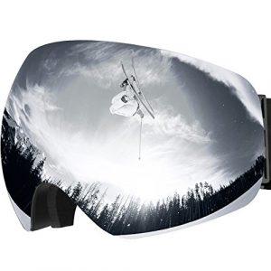 OMorc Lunette Masque de Ski Protection UV400, Lunette Détachable OTG Snowboard Anti-UV Anti-buée avec Double Lentille pour Activité Extérieur Moto/ VTT/ Ski – Gris