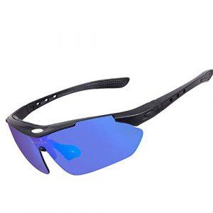 Pettneeds Leichte Sportbrille Lunettes de Cyclisme polarisantes Sports de Plein air pour Hommes et Femmes Lunettes de Protection pour Les Yeux Lunettes de vélo Équipement