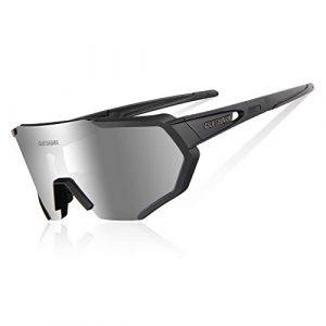 Queshark Lunettes de Soleil Polarisées avec 3 lentilles interchangeables pour Conduire des Lunettes de Cyclisme à la Course de Cyclisme en Cyclisme (Noir)