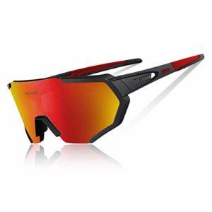 Queshark Lunettes de Soleil Polarisées avec 5 lentilles interchangeables pour Conduire des Lunettes de Cyclisme à la Course de Cyclisme en Cyclisme (Noir Rouge)