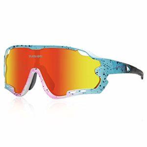 Queshark Lunettes de Soleil Sports Polarisées pour Hommes Femmes Cyclisme Course Pêche Golf Moto UV400 Lunettes 4 Objectif Interchangeable (Bleu Rose)