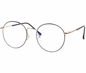 ROSA&ROSE Blocage de la lumière bleue Anti-radiations UV Protection Lumière bleue Filtre Ordinateur Des lunettes Claire Rond Lentilles Hommes Femmes (Noir + or)