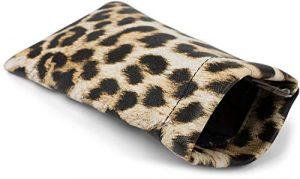styleBREAKER Étui pour lunettes de soleil avec motif léopard et chiffon de nettoyage, étui avec fermeture à cliquet, unisexe 09020096, couleur:Marron-beige