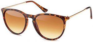 styleBREAKER Lunettes de soleil avec grands verres ovales et branches en métal, femmes 09020085, couleur:Monture marron demi/verre dégradé marron