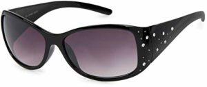 styleBREAKER lunettes de soleil avec strass et verres à teinte dégradée, forme papillon, pour femme 09020055, couleur:Monture noire/verre dégradé gris-violet