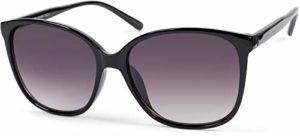styleBREAKER Lunettes de soleil oversize pour femmes avec des verres ovales en polycarbonate et une monture en plastique, style rétro 09020092, couleur:Monture noire/verre dégradé gris