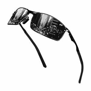 Sunmeet Lunettes de Soleil Hommes Lunettes de sport polarisées – Lunettes de conduite avec monture en métal pour Hommes et Femmes S1008(Noir/Noir)