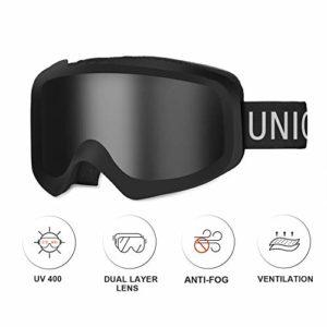Unigear Lunettes de Ski, Lunettes de Snowboard Cylindrique Anti-buée pour Adultes, Ski Goggles Anti-UV400 Système de Ventilation Adapté pour Les Activités Ski Cyclisme Moto (Noir-Argent)