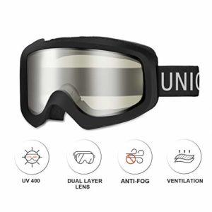 Unigear Lunettes de Ski, Lunettes de Snowboard Cylindrique Anti-buée pour Adultes, Ski Goggles Anti-UV400 Système de Ventilation Adapté pour Les Activités Ski Cyclisme Moto (Noir-Transparent)