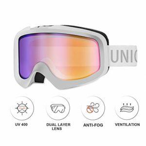 Unigear Lunettes de Ski, Lunettes de Snowboard Cylindrique Anti-buée pour Adultes, Ski Goggles Anti-UV400 Système de Ventilation Adapté pour Les Activités Ski Cyclisme Moto (REVO Bleu)
