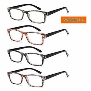 VVDQELLA 4 Lot de Lunettes de Lecture 1.0-2.5 Monture Rectangulaire à Rayures Vision Claire Anti Reflet Reading Glasses de Haute Qualité pour Femmes et Hommes (3.0 X)