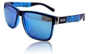 WinLook – Lunettes de Soleil en Verre Polarisé Certifiée UV400 – Confortables et Légères – Design Élégant – Étui de protection offert – Nouveauté 2019 – DUBERY (Black&Blue/Blue)