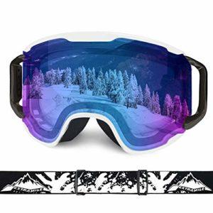 WLZP Lunettes de Ski,Masques Snowboard UV400 et Anti-Brouillard à Double Enduit,Masque de Ski Hommes et Femmes,Convient pour Le Ski,Le Snowboard, l'escalade sur Glace, Le Ski Alpin