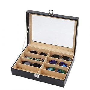 Wuxingqing Boîte de Rangement pour Lunettes Rangement de Lunettes et Lunettes de Soleil Organisateur de vitrines Boîte à Lunettes de Soleil à 8 Fentes (Color : Black, Size : Free Size)