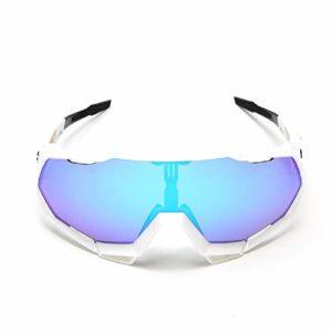 Xiaoplay Cyclisme Lunettes Superlight Cadre de Sport Lunettes de Protection, Anti-UV, Anti-Reflets, Anti-radiations pour Les Femmes en Hommes Course à Pied Cyclisme Pêche Golf,White