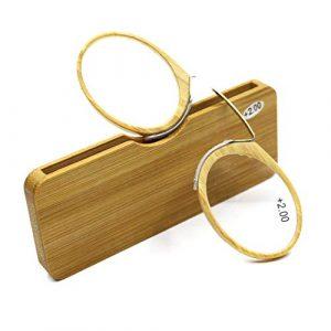 YUANP Clip Nez Lunettes De Lecture en Bambou Type De Carte Ultra-LéGer Portable Clip Nez Lunettes De Lecture Mis Portefeuille Autocollants TéLéPhone Clip Nez,+2.00