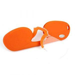 YUANP Clip Nez Lunettes De Lecture Portable Miroir De Lecture Compact sans Miroir Lunettes Portefeuille Lunettes,Orange-+2.00