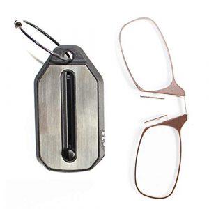 YUANP Clip Nez Lunettes De Lecture Ultra LéGer Portable Ultra-Mince Porte-CléS Clip Nez Lunettes De Lecture,Brown-+2.50