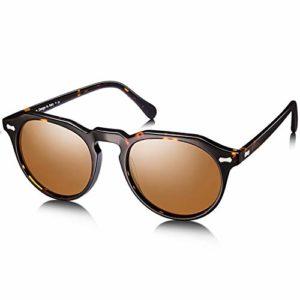Carfia Retro Ronde Lunettes de Soleil Femme Polarisées 100% UV400 Protection Conduite Lunettes (monture tortoise, verres marron)