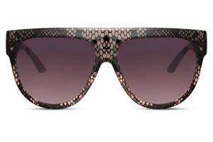 Cheapass Lunettes de soleil Grises-Roses Serpent Oversize à Haut Plat XXL UV400 Lunettes Designer Femmes