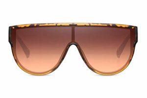 Cheapass Lunettes de soleil Marron-Léopard Oversize XXL à Haut Plat avec un Verre Marron Monopièce Dégradé Lunettes Designer UV400 Femmes
