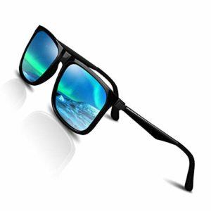 CHEREEKI Lunette de soleil Polarisées pour Hommes et Femme Protection UV400,Lumière et Mode (Bleu)
