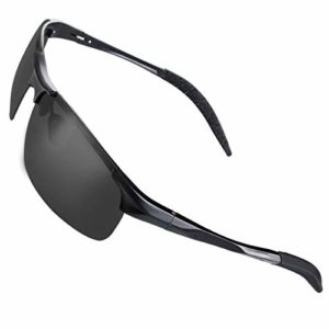 CHEREEKI Lunettes de Soleil Sport, Lunettes de Soleil Polarisées Cyclisme avec Protection UV400 pour Hommes et Femmes (Noir)