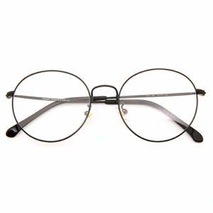 Cyxus Blocage de la lumière bleue [Lunettes anti-fatigue oculaire],Lunettes de lecture rétro à verres transparents, hommes/femmes (Noir mat)