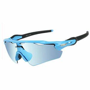 Duco Lunettes de Soleil polarisées Lunettes pour Sport, Cyclisme avec 5 Verres interchangeables 0028 (Bleu)