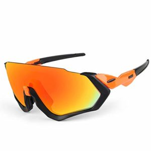 Lesrly-Cycle Lunettes de Soleil pour Hommes, Lunettes de Cyclisme avec 3 lentilles interchangeables Protection UV 400 Protection Anti-Reflets – Cyclisme/Conduite/pêche,Blackorange(redlens)