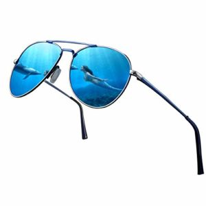 Lunettes de soleil polarisées pour hommes / femmes; Cadre en métal léger vintage / classique / élégant; Lentilles pilotes HD; Golf / conduite / pêche / voyage (Monture bleue / lentille aviateur bleue)