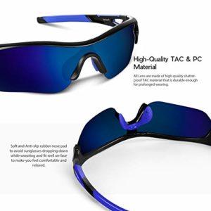 Lunettes de Soleil Sports Polarisées pour Hommes Femmes Jeunes Baseball Cyclisme Course Pêche Golf Moto UV400 Lunettes (Bleu noir1)