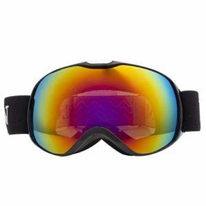 NA Accessoires pour Enfants Lunettes de Ski Double Couche Anti-buée Ski Masque Lunettes de Snowboard Patinage Coupe-Vent Lunettes de Soleil Ski Lunettes de Ski, Noir brillant