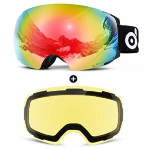Odoland Lunettes de Ski Masque de Snowboard Hommes et Femmes-Anti-UV400, Anti-Buée, Coupe-Vent, Lunettes de Protection avec Grande Lentille OTG Détachable Sphérique