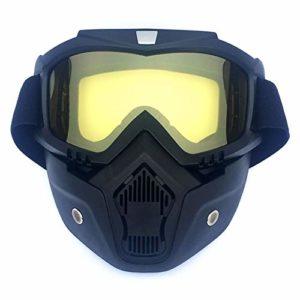 Sports Pour Hommes/Femmes Rétro de Plein Air Cyclisme Masque Lunettes de Neige Sports Ski Plein Visage Masque Lunettes, Monture noire verticale + lentille jaune.