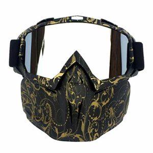 Sports Pour Rétro En Plein Air Cyclisme Masque Lunettes de Motocross Ski Snowboard Snowmotoneige Masque Masque Masque Bouclier Lunettes Lunettes, Verre couleur mercure, monture fleur en cuivre.