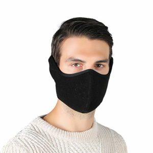 Tweal Masque Chaud d'hiver,Masque d'hiver Facial pour à l'épreuve du Vent, Anti-Poussière,Anti-Buée avec Protège-Oreilles Ajustables, Noir (Cchaud Unisexe)