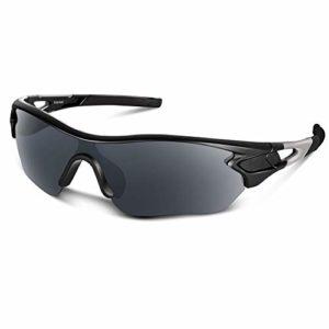Bea Cool Lunettes de Soleil de Sports Polarisée pour Hommes Femmes Jeunes Baseball Cyclisme Course Pêche Golf Moto UV400 Lunettes (Noir Mat)