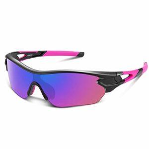 Bea Cool Lunettes de Soleil de Sports Polarisée pour Hommes Femmes Jeunes Baseball Cyclisme Course Pêche Golf Moto UV400 Lunettes (Rose)
