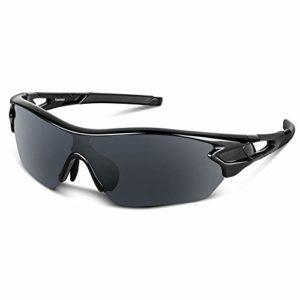 Bea Cool Lunettes de Soleil Sports Polarisées pour Hommes Femmes Jeunes Baseball Cyclisme Course Pêche Golf Moto UV400 Lunettes (Noir brillant1)